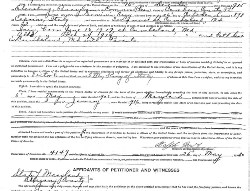 Ralph Nevy Naturalization Papers