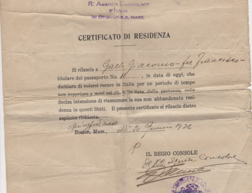 Giacomo's Certificate of Residence