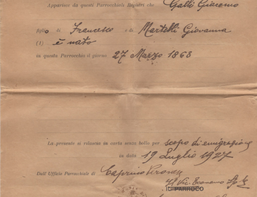 Giacomo Galli's Birth Certificate