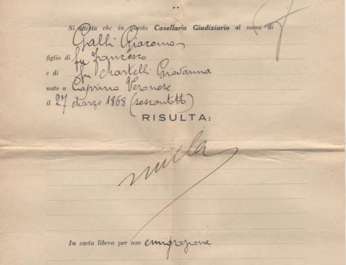 Giacomo Penal Certificate