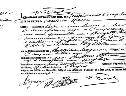 Antonio Nevi's Death Certificate